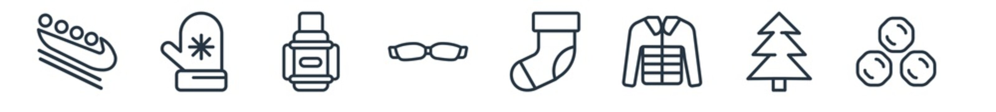 linear set of winter outline icons. line vector icons such as bobsled, mittens, themos flask, goggles, christmas sock, snow ball vector illustration.