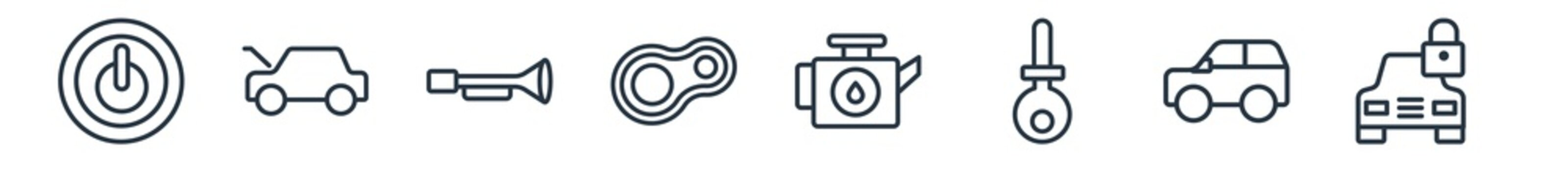 linear set of car parts outline icons. line vector icons such as car ignition, car hood, horn, headlight, oil pump, lock vector illustration.