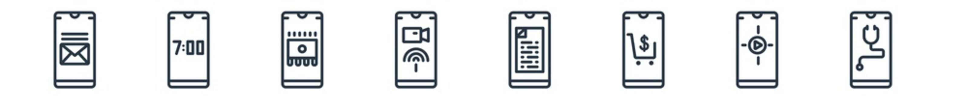 linear set of mobile app outline icons. line vector icons such as messages, digital clock, rom, videocall, news, medical app vector illustration.