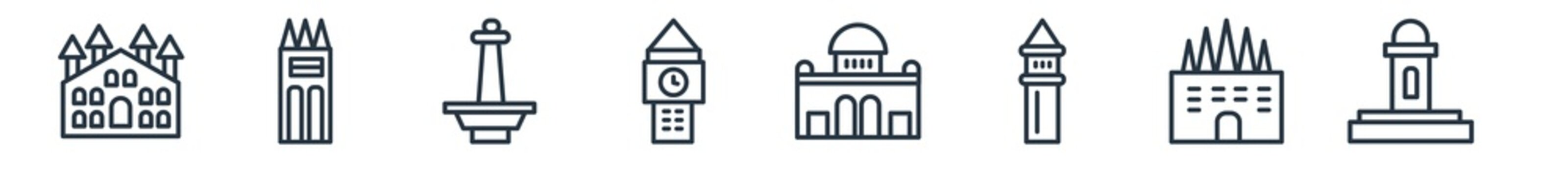 linear set of monuments outline icons. line vector icons such as milan cathedral, philippines, national monument monas, the clock tower, alcala gate, hassan mosque vector illustration.