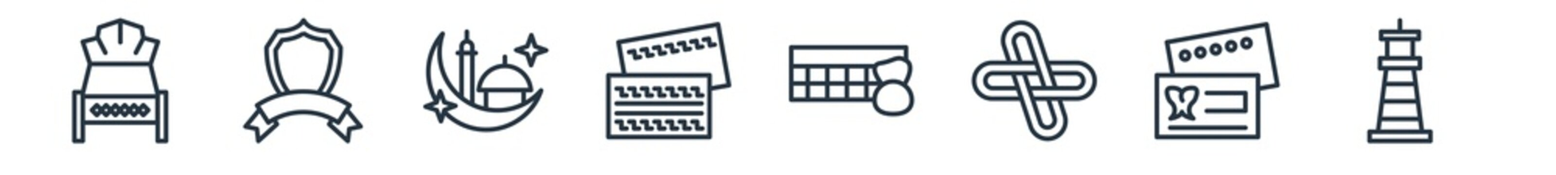linear set of other outline icons. line vector icons such as hotel bed, blazon, mosque moon and star, government business card, loto, smeaton's tower vector illustration.
