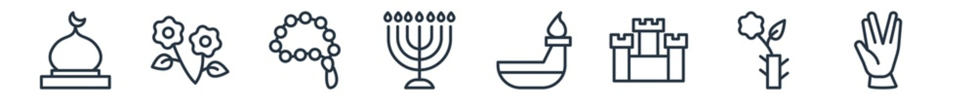 linear set of religion outline icons. line vector icons such as mosque domes, flowers, muslim tasbih, big menorah, dipa, ohr vector illustration.