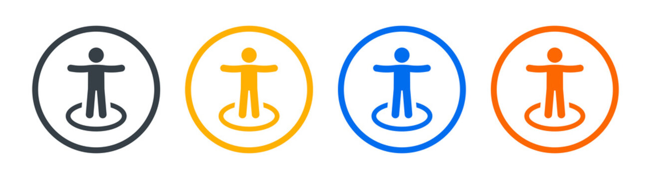 Man standing on comfort zone icon vector illustration.