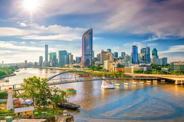 Fototapeta Brisbane city skyline and Brisbane river at sunset obraz