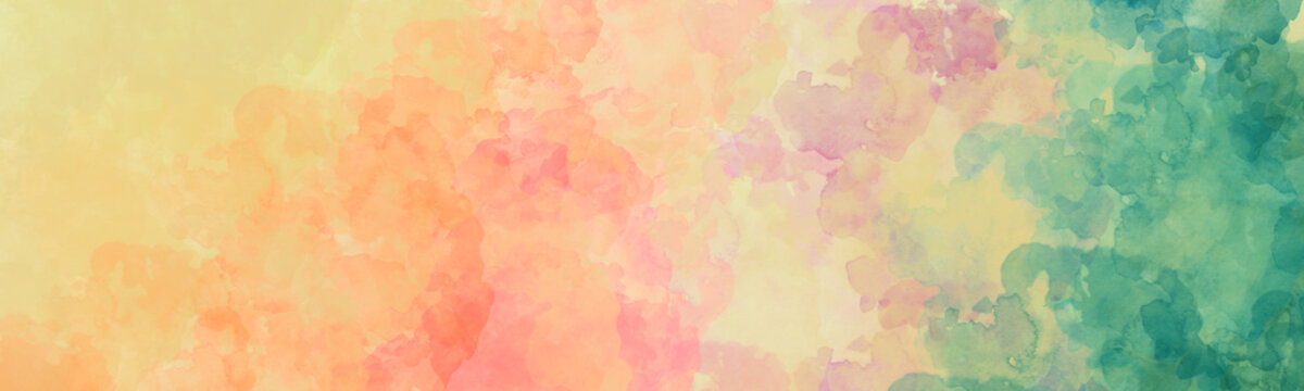 Watercolor background, blue green pink orange red and yellow rainbow colors in colorful painting of sunset or sunrise clouds, gradient abstract watercolor illustration with no people