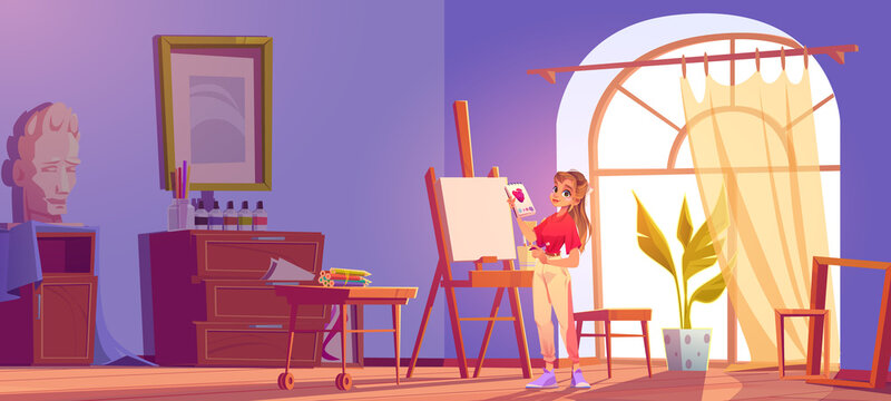 Art school cartoon illustration. Artist girl at easel paint flower. Painter young woman in teenage clothes holding pencil and sketchbook with rose blossom sketch. Workshop studio class vector interior