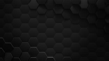 Obraz Black hexagonal geometric background 3D rendering illustration - fototapety do salonu