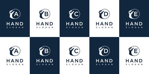 Obraz Handshake logo with letter a b c d e design - fototapety do salonu