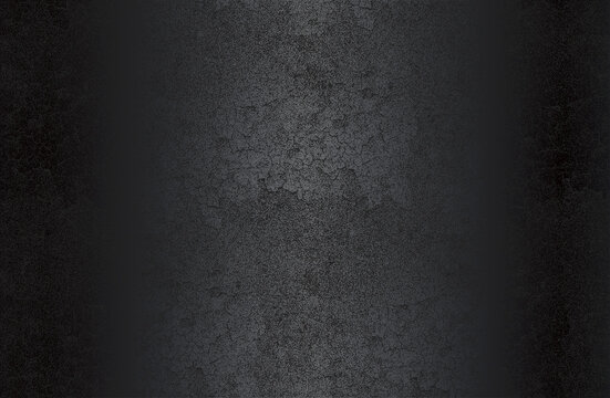 Luxury black metal gradient background with distressed cracked concrete texture.