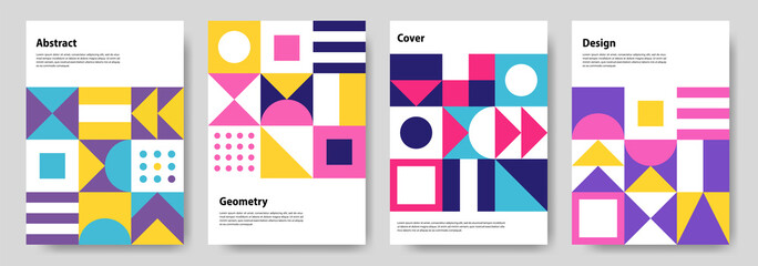 Obraz A collection of colorful abstract geometric mural design covers. Eps10 vector - fototapety do salonu