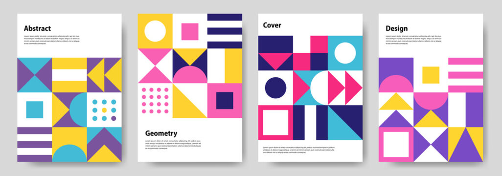 A collection of colorful abstract geometric mural design covers. Eps10 vector