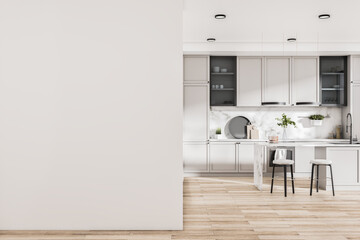 Obraz Modern kitchen interior with island, appliances, sunlight and mockup place on wall. Design concept. Mock up, 3D Rendering. - fototapety do salonu