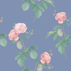 Floral seamless pattern, pink roses and green leaves on blue