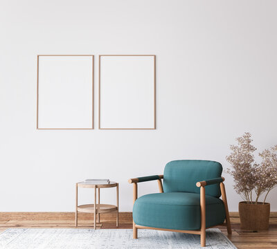 Scandinavian bright living room design, blue armchair with natural wooden furniture, 3d render
