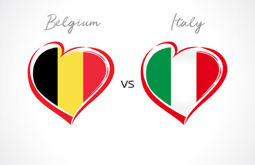 Belgium vs Italy flag emblem. National team soccer on white background. Belgian and Italian national flag in heart, vector illustration. Europe football championship final of the competition 2020