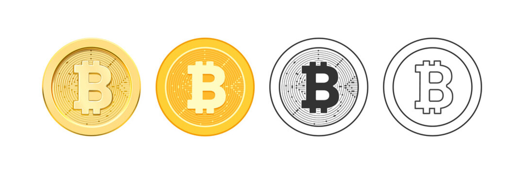 Decentralized virtual currency for payment and transactions, isolated bitcoin icons in realistic, flat and line style. Golden coins, electronic exchange and financial profit, vector illustration