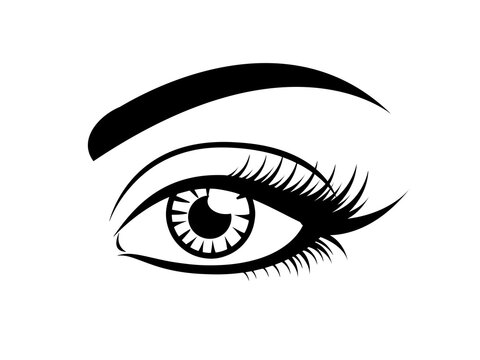Longe eyelashes icon, black vector on white. Female eye glamour icon with brow and lashes.