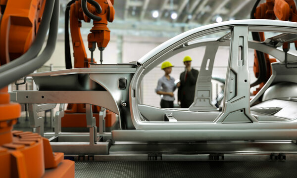 Modern car production line with robotic arms welding components 3d render