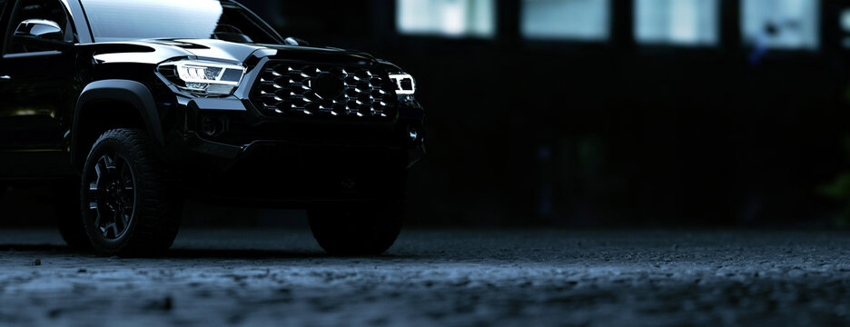 Black SUV parked up at night in the city panoramic 3d render