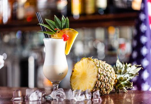 Pina colada coctail on bar counter