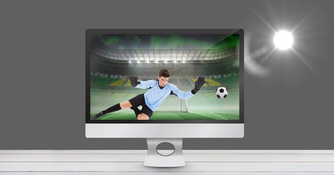 Composition of male football player playing football in tv