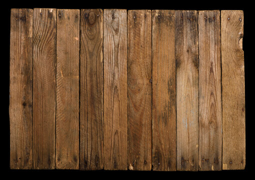 Vintage wooden background from planks with rusty nails isolated on black.