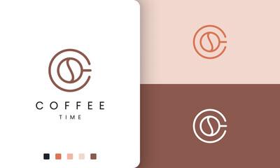Fototapeta coffee mug logo in modern and simple shape obraz