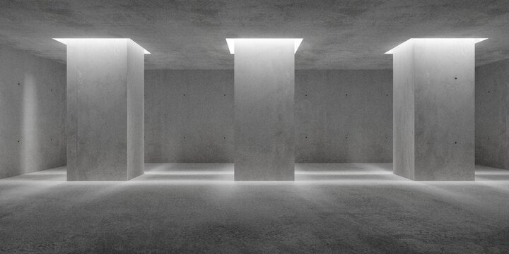 Abstract empty, modern concrete walls room with indirect lit pillars and rough floor - industrial interior or gallery background template