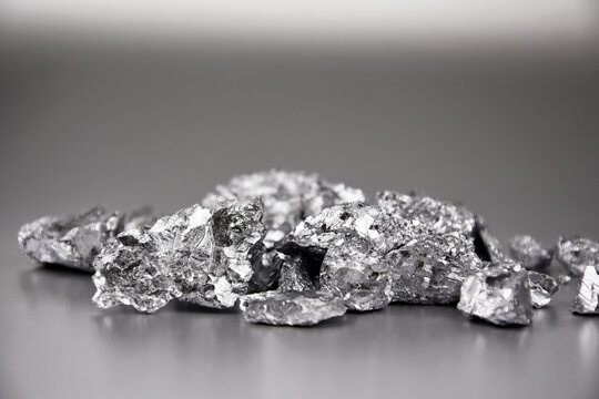 Pure chromium metal stock images. Laboratory accessories stock photo. Laboratory equipment on a silver background. Cr, chemical element stock images