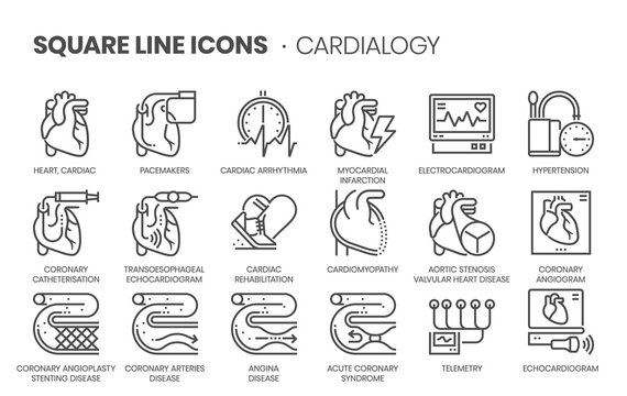 Cardiology related, square line vector icon set.