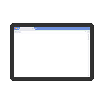 Tablet mockup with blank web browser window. Realistic black tablet with empty Browser on the screen isolated on light background. Vector illustration EPS 10.