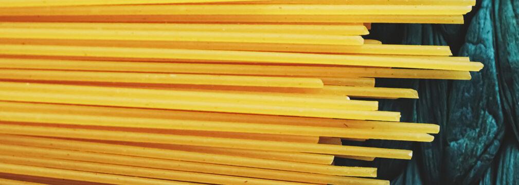 Whole wheat raw spaghetti, pasta organic food concept