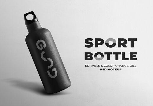 Minimal Sport Bottle Mockup in Stainless Steel