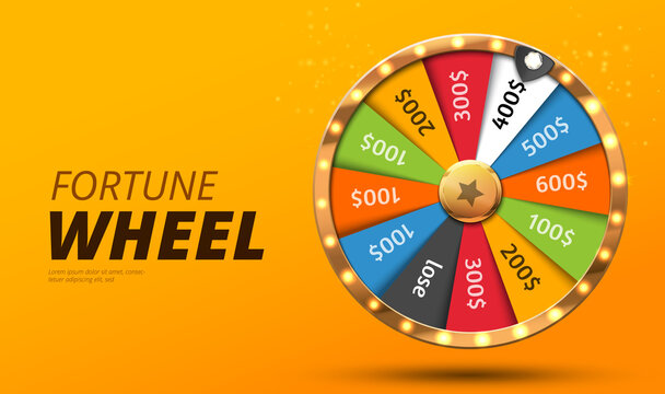 Colorful wheel of luck or fortune infographic. Vector illustration. Online casino background. Vector illustration