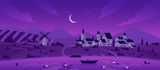 Obraz Night town or village by lake landscape vector illustration. Cartoon mountain scenery with moon in purple starry sky, boat on calm lake waters, mill on summer fields and farm houses background - fototapety do salonu