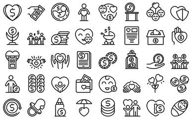 Fototapeta Child support icons set outline vector. Family childcare. Adoption child protect obraz