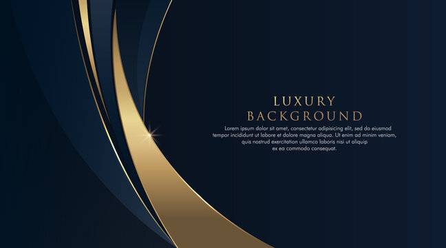 Dark blue abstract curve background with glitter golden lines. Luxury and elegant style template. Modern Simple geometric pattern. Suit for cover, poster, banner, website. Vector illustration