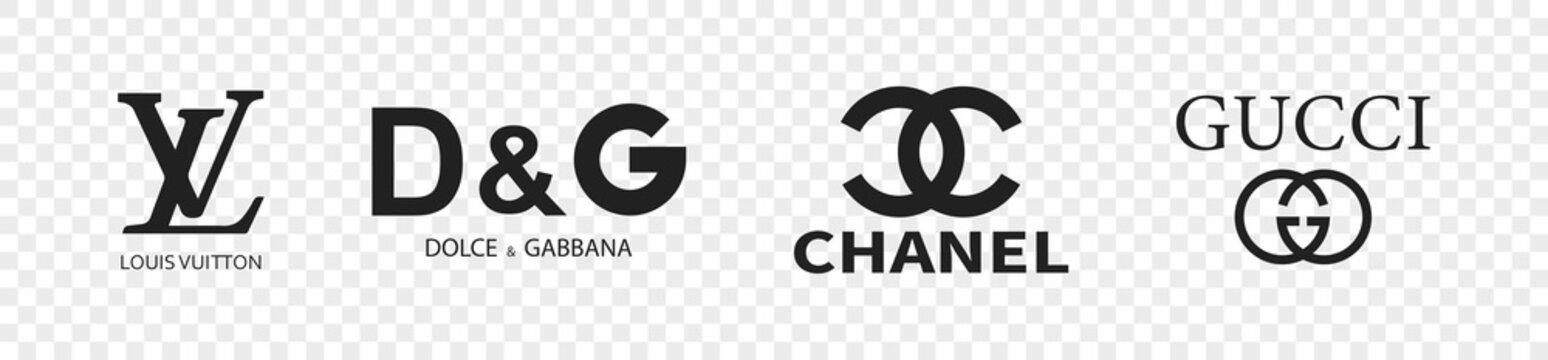 Kiev, Ukraine - June 28, 2021: Popular clothing brands logotype. Vector illustration. Gucci LV Chanel Dolce&Gabbana brand logo emblem.