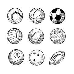Fototapeta Sport balls, vector sketch illustration, black isolated outline obraz