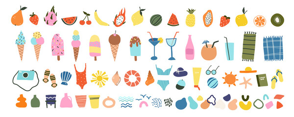 Obraz Cute hand drawn summer icons fruits, ice creams, cocktails, beach items. Cozy hygge scandinavian style for postcard, greeting card. Vector illustration in flat cartoon style - fototapety do salonu