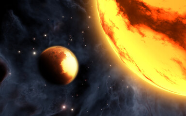Alien super-Earth Gliese 486b and its nearby red dwarf star, 3d illustration