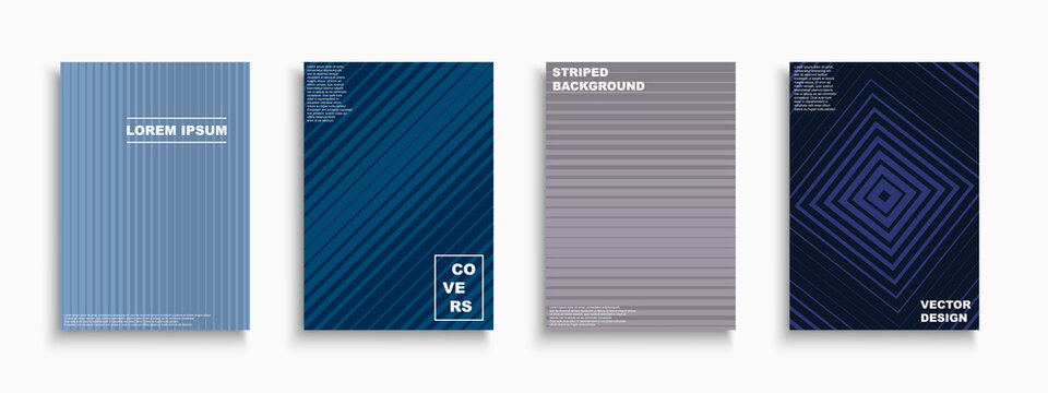 Vector minimalistic abstract contemporary templates, posters, placards, brochures, banners, flyers, backgrounds and etc. Colorful gradient striped covers - trendy geometric design