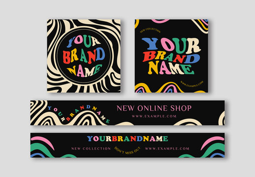 Wavy and Bold Banner Ad Set