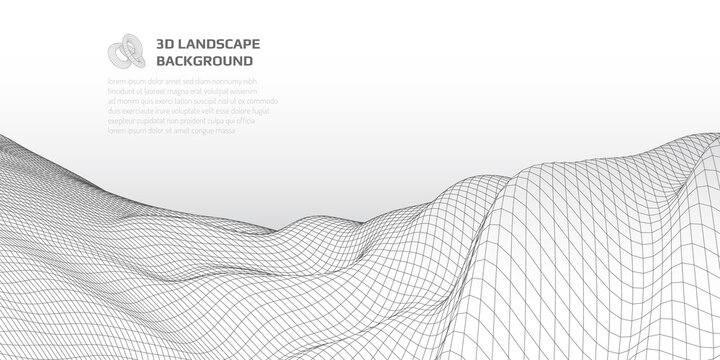 Virtual landscape with 3D lines and waves.