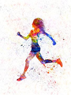 Athletics runner in watercolor
