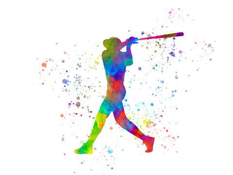 Baseball player in watercolor