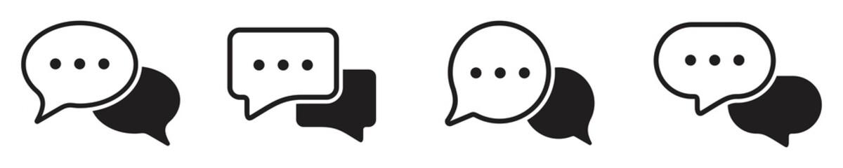 Fototapeta chat message icon set, Chat speech bubble, Social media message. Vector illustration obraz