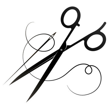 Sewing and tailoring is symbol for a tailor. Scissors needle and thread