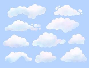 Fototapeta Watercolor Painted Cloud Collection obraz