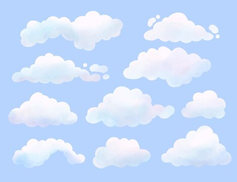 Watercolor Painted Cloud Collection